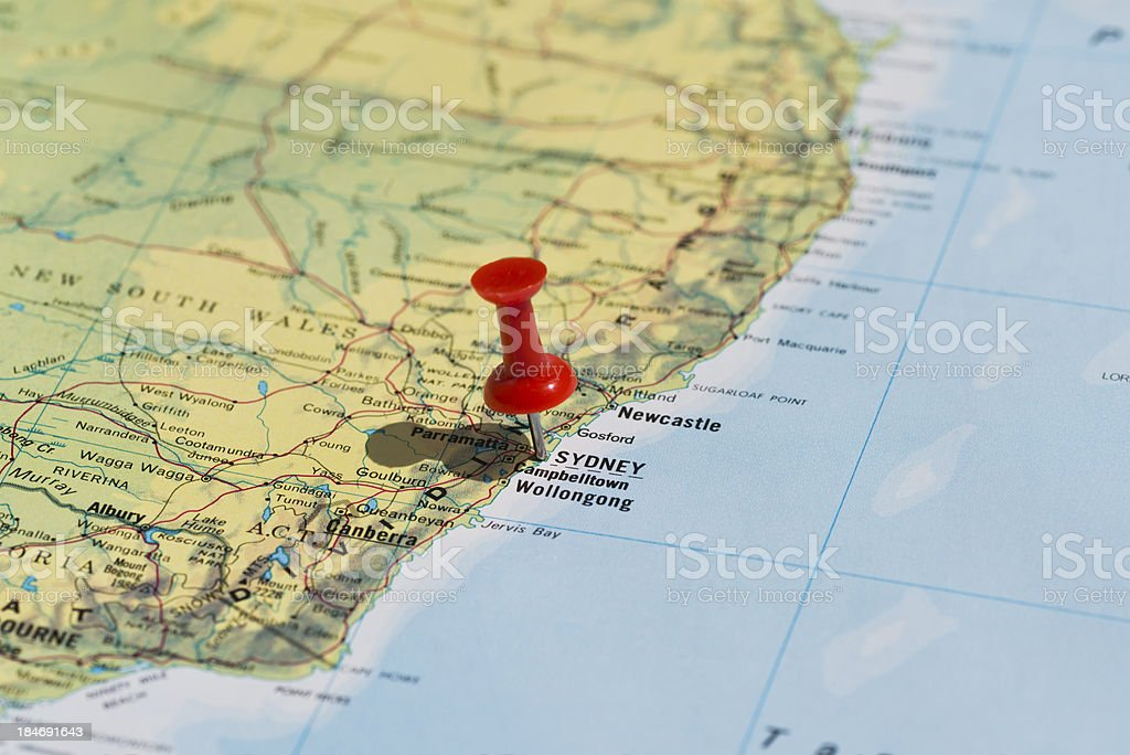 Sydney marked on map with red pushpin stock photo more pictures of sydney marked on map with red pushpin royalty free stock photo gumiabroncs Image collections