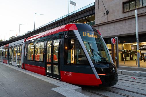 Sydney, Australia - November 10, 2019: New Sydney tram on the L2 - Randwick line at Circular Quay stop.