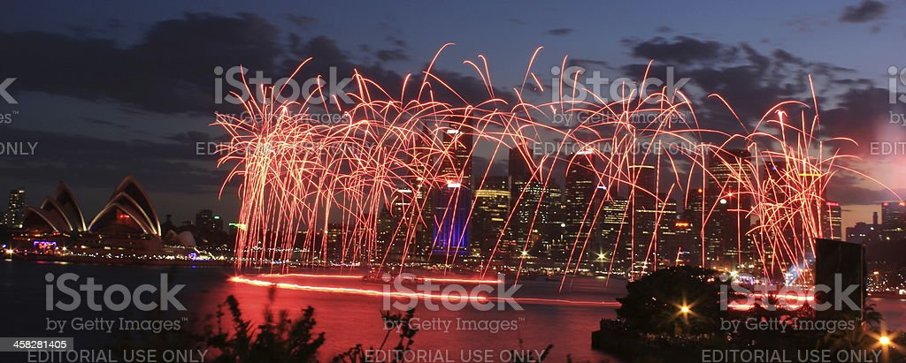 Sydney New year eve fire works near Opera House royalty-free stock photo
