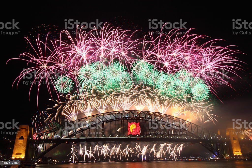Sydney New Year Fireworks 2009-2010 royalty-free stock photo