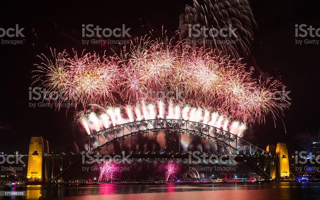 Sydney New Year Fireworks 2013 royalty-free stock photo