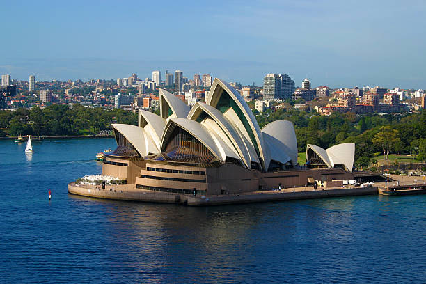 Sydney Opera House aerial view from harbour bridge stock photo