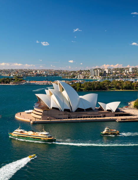 Sydney Opera House And Boats On Circular Quay stock photo
