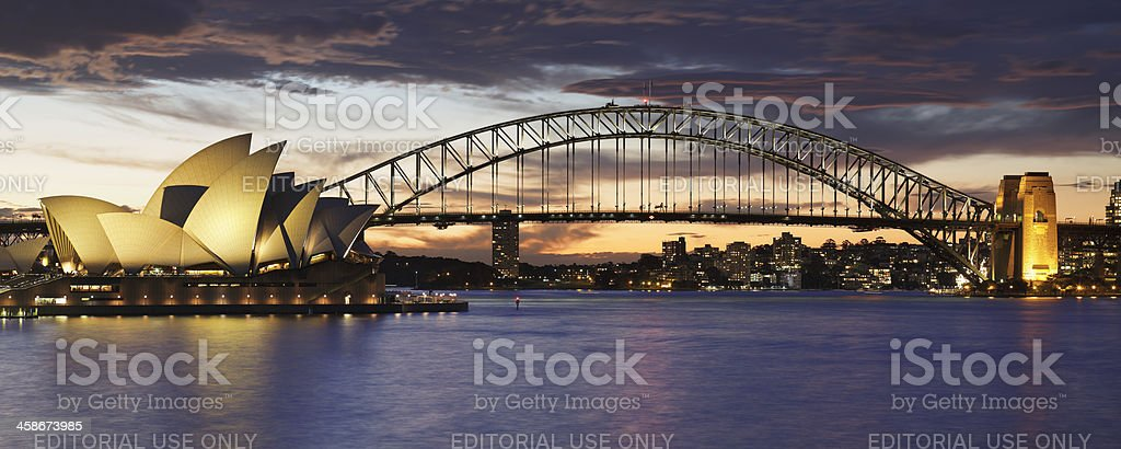 Sydney Opera House and Harbor Bridge royalty-free stock photo