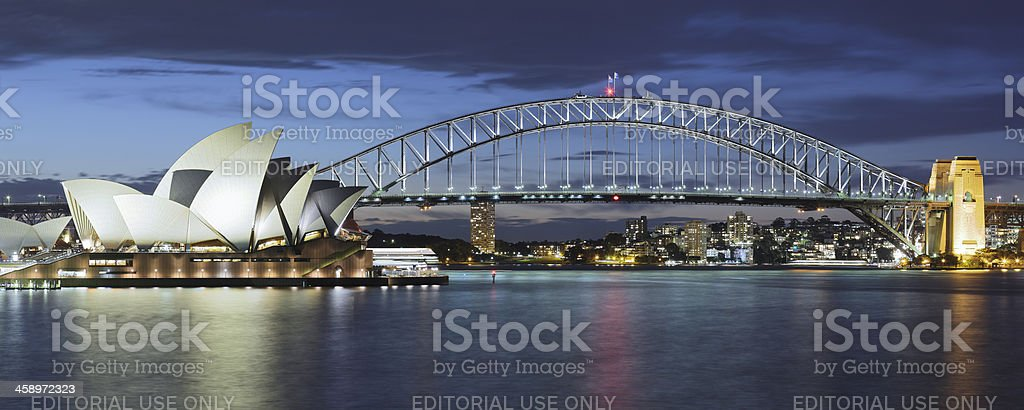 Sydney Opera House and Harbor Bridge stock photo
