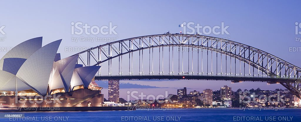 Sydney Opera House and Harbour Bridge in Australia royalty-free stock photo
