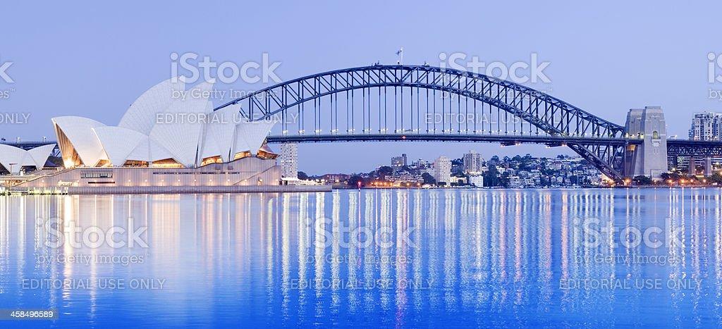 Sydney Opera House and Harbour Bridge in Australia stock photo