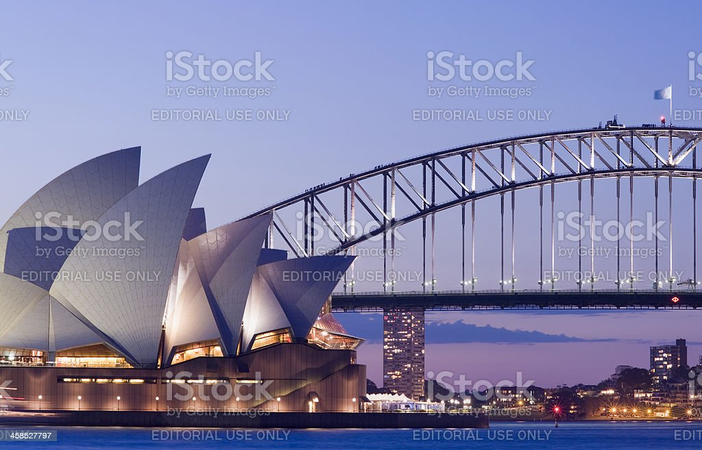 Sydney Opera House and Harbour Bridge in Australia stock photo