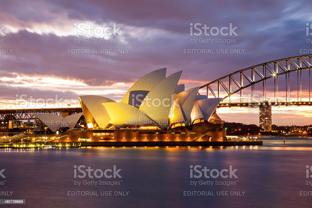 Sydney Opera House and the Harbour Bridge at night stock photo