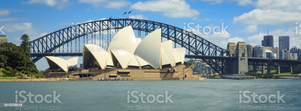 Sydney Opera House and the Sydney Harbour Bridge, Australia stock photo