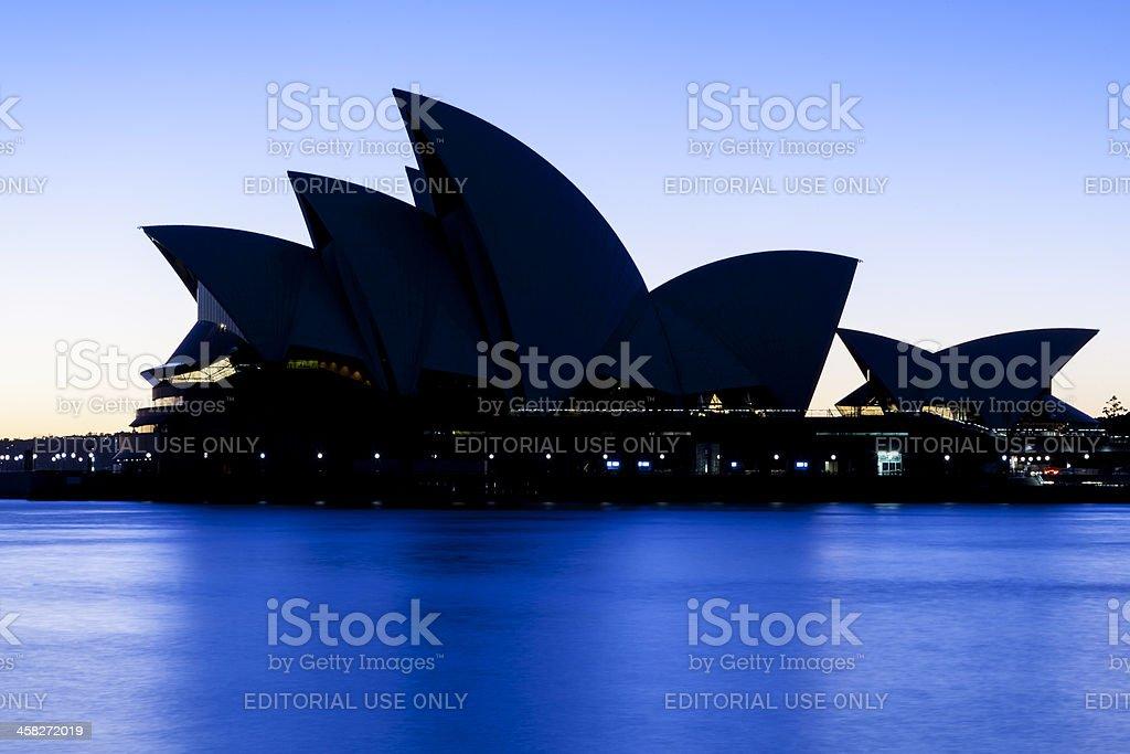 Sydney Opera House at sunrise,blue tone. royalty-free stock photo