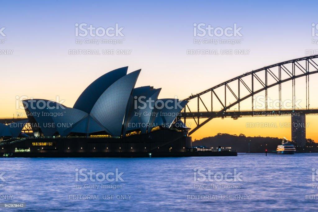Sydney Opera House at sunset stock photo