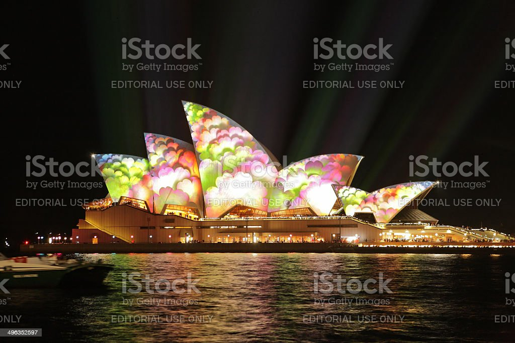 Sydney Opera House covered in flowers during Vivid Sydney stock photo