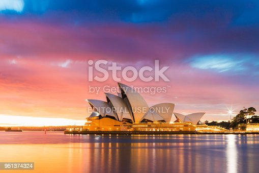 Sydney, Australia - Melbourne 25, 2018: Sydney Opera House view with the light on at dawn.