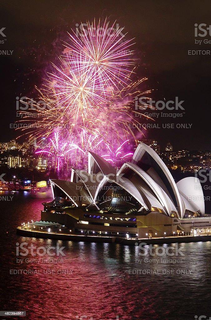 Sydney Opera House Fireworks royalty-free stock photo