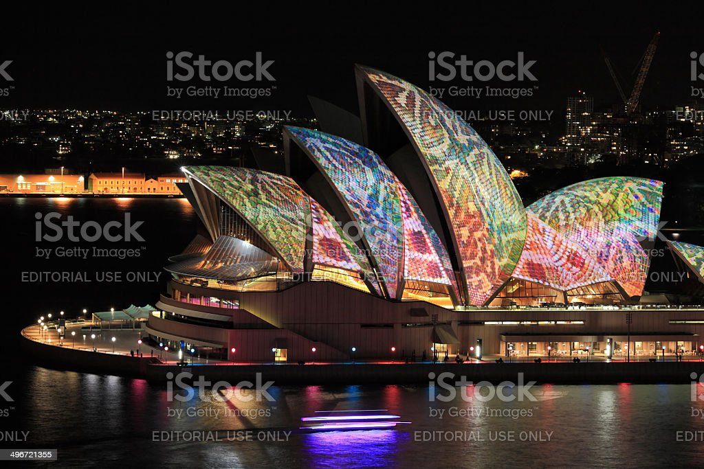 Sydney Opera House in colourful reptile snakeskin stock photo