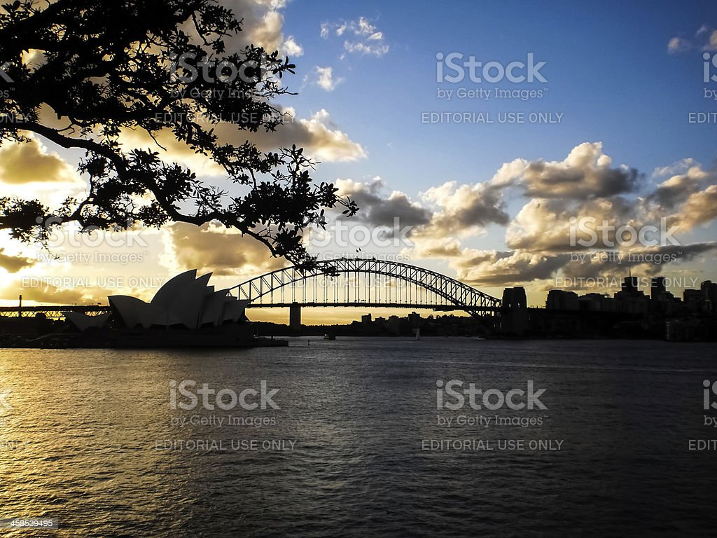 Sydney opera house in the evening time. royalty-free stock photo