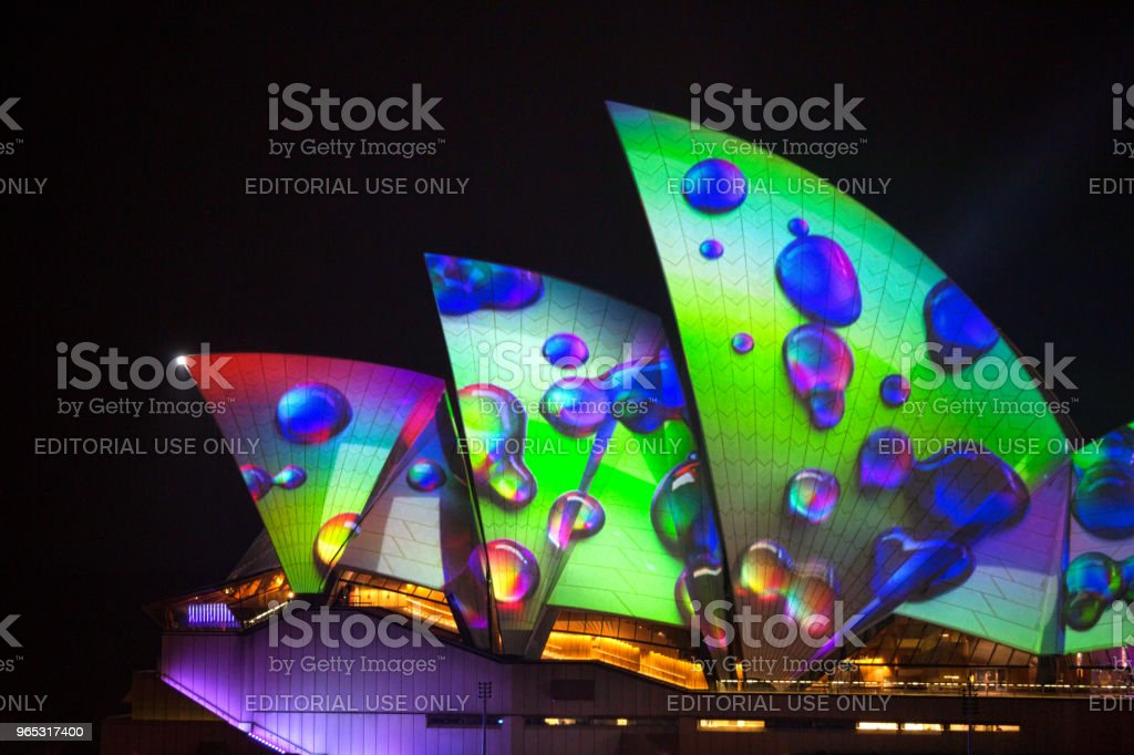 Sydney Opera House Sails with Vivid Imagery from 2018 royalty-free stock photo