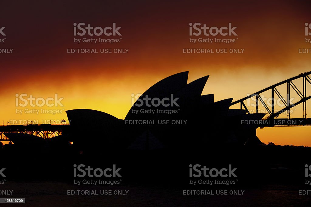 Sydney Opera House silhouette royalty-free stock photo