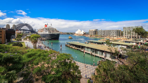 Sydney Opera House, the Queen Mary 2 and Sydney Harbour Bridge, Australia stock photo