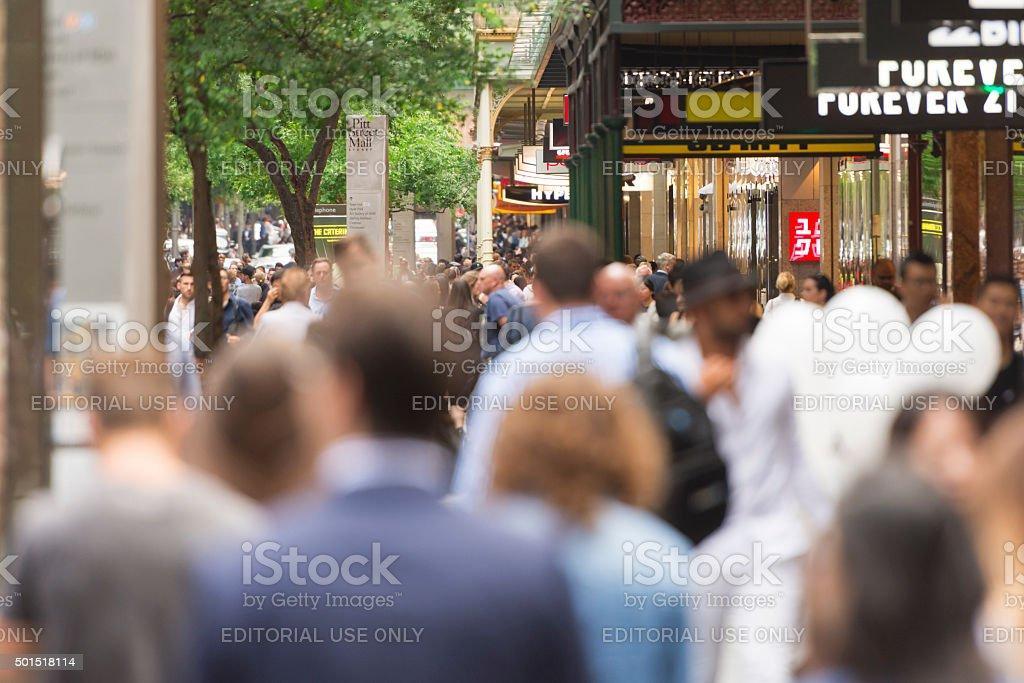 Sydney Pitt Street Mall crowds stock photo