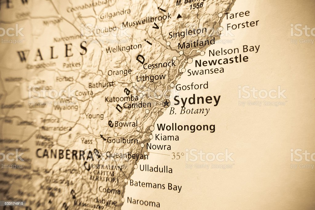 Sydney road map stock photo