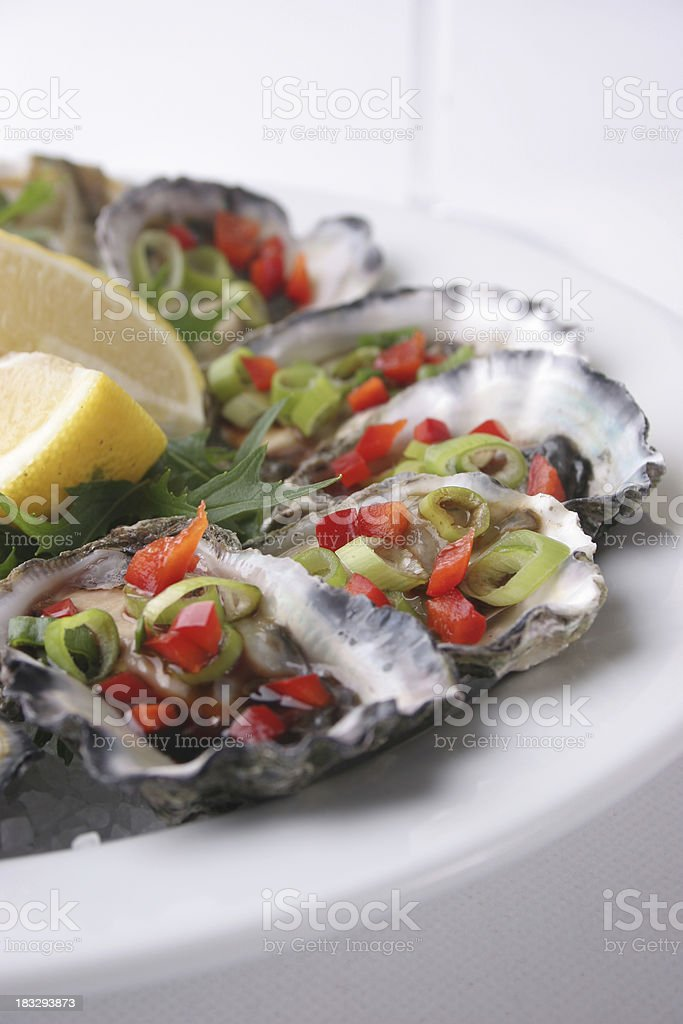 Sydney Rock oysters white and light royalty-free stock photo