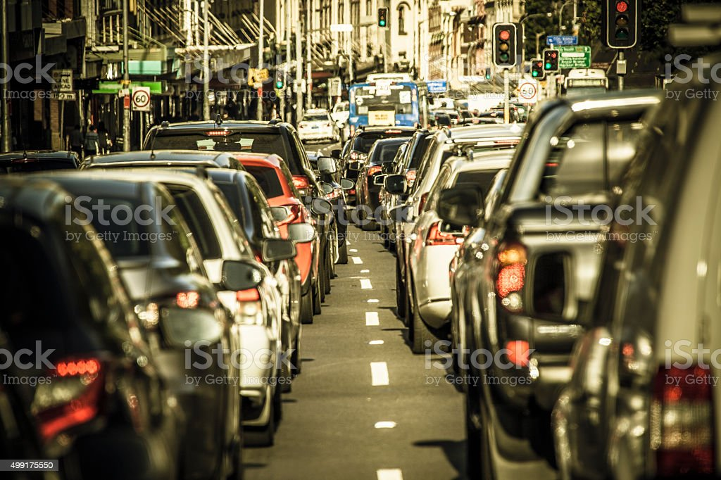 Sydney rush hour traffic gridlock stock photo