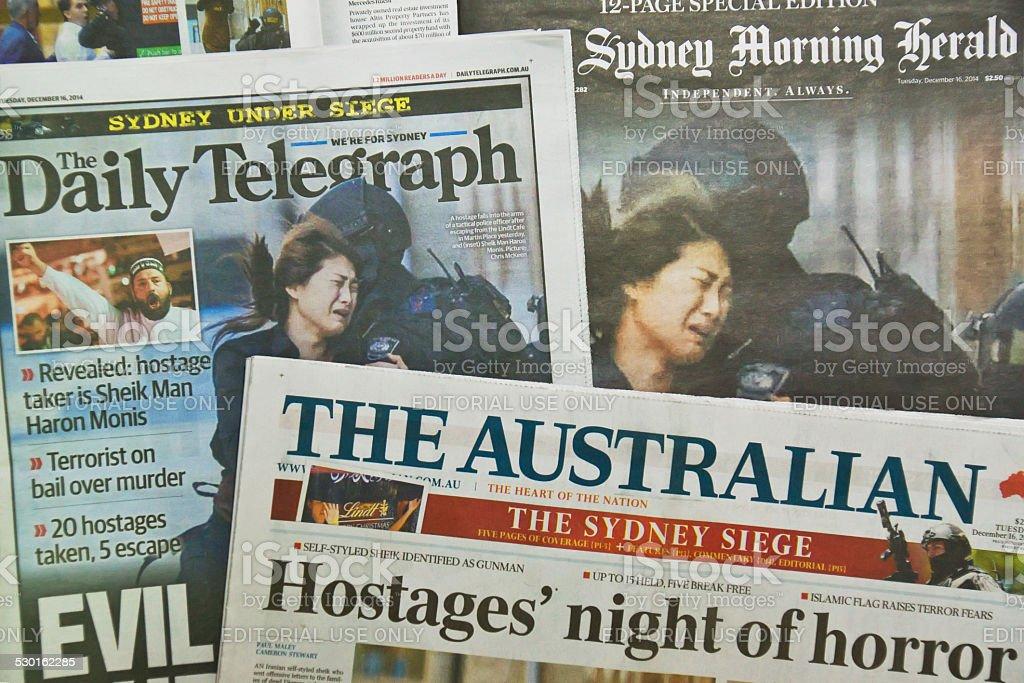 Sydney Siege: Newspapers stock photo