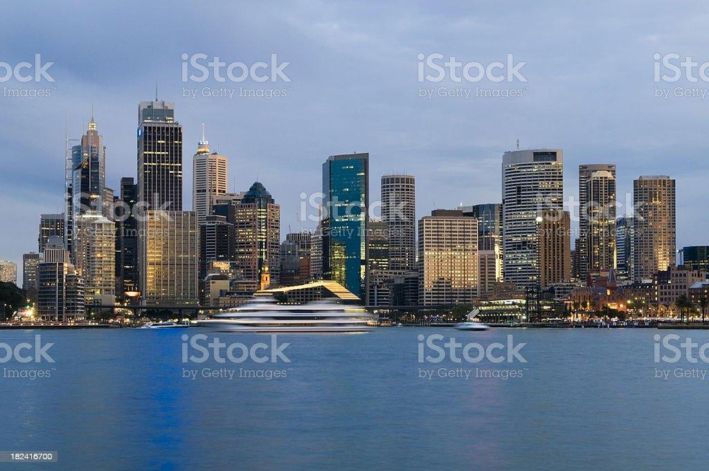 Sydney Skyline and Harbor at Dusk royalty-free stock photo