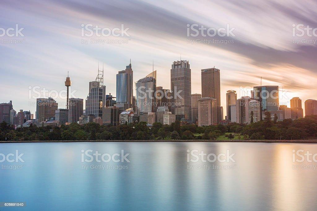 Sydney skyline at dusk stock photo