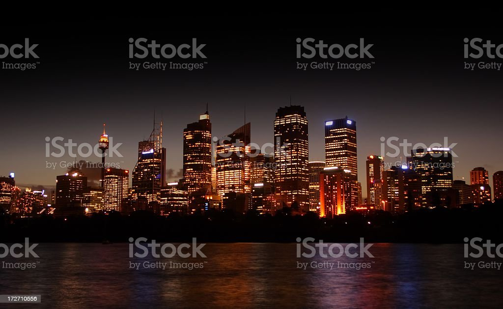 Sydney Skyline at Night royalty-free stock photo