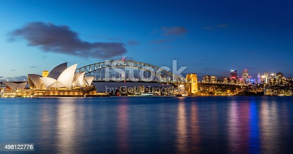Sydney skyline at twilight. Panorama of the Sydney Skyline. The Sydney Opera House small on the left side, Sydney Harbour Bridge in the middle. Twilight Scenic Sydney Panorama. Sydney, Australia. Canon 5DSR 50MPixel Panorama.