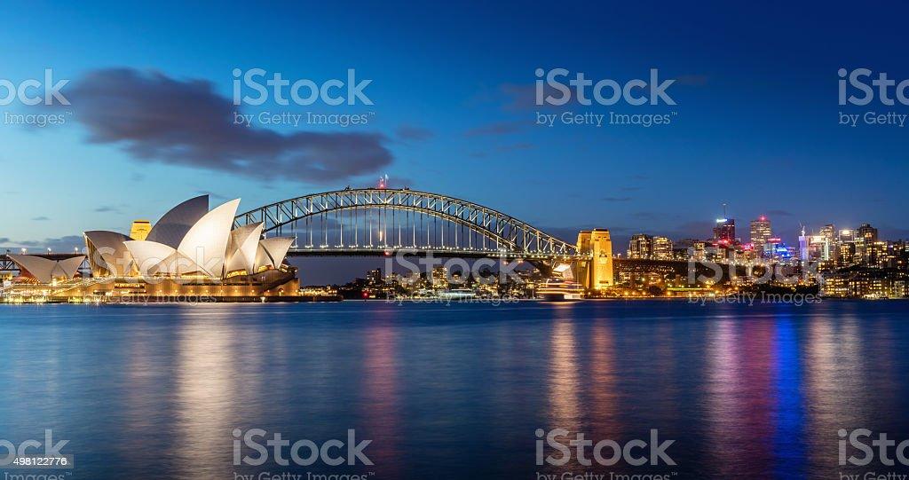 シドニーの夜の街並み ストックフォト