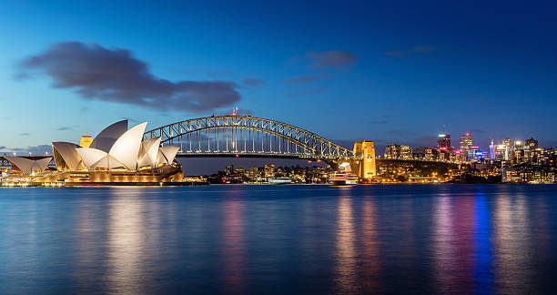 sydney skyline at night - australia bildbanksfoton och bilder