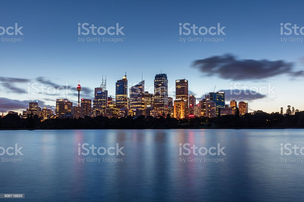 Sydney Skyline at Night Twilight Australia stock photo