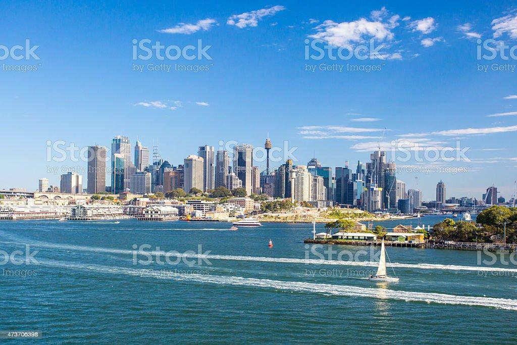 Sydney Skyline from Balls Head Reserve stock photo