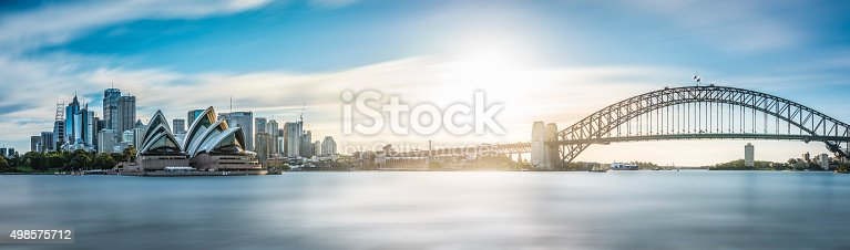 Panorama of sydney skyline on a sunny autumn afternoon.
