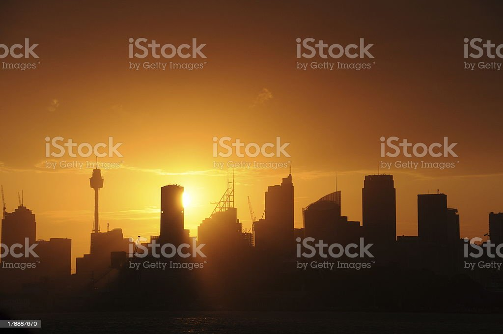 Sydney Skyline Sillhouette CBD royalty-free stock photo