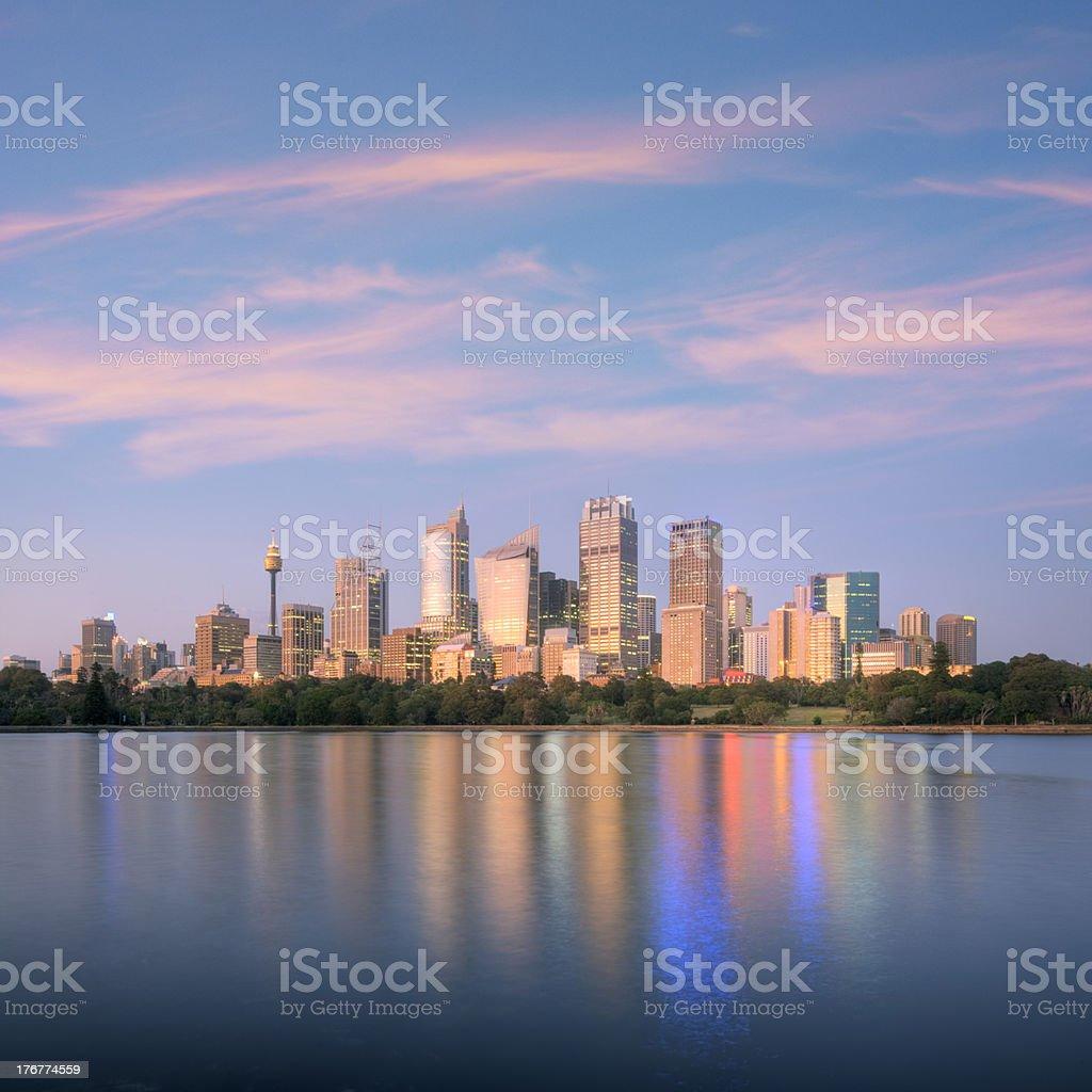 Sydney Skyline Sunrise Square Australia royalty-free stock photo