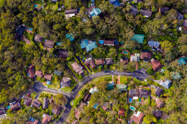 Sydney Suburb overhead perspective roof tops stock photo