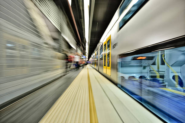 Sydney subway station. Motion and zoom blurred - foto stock