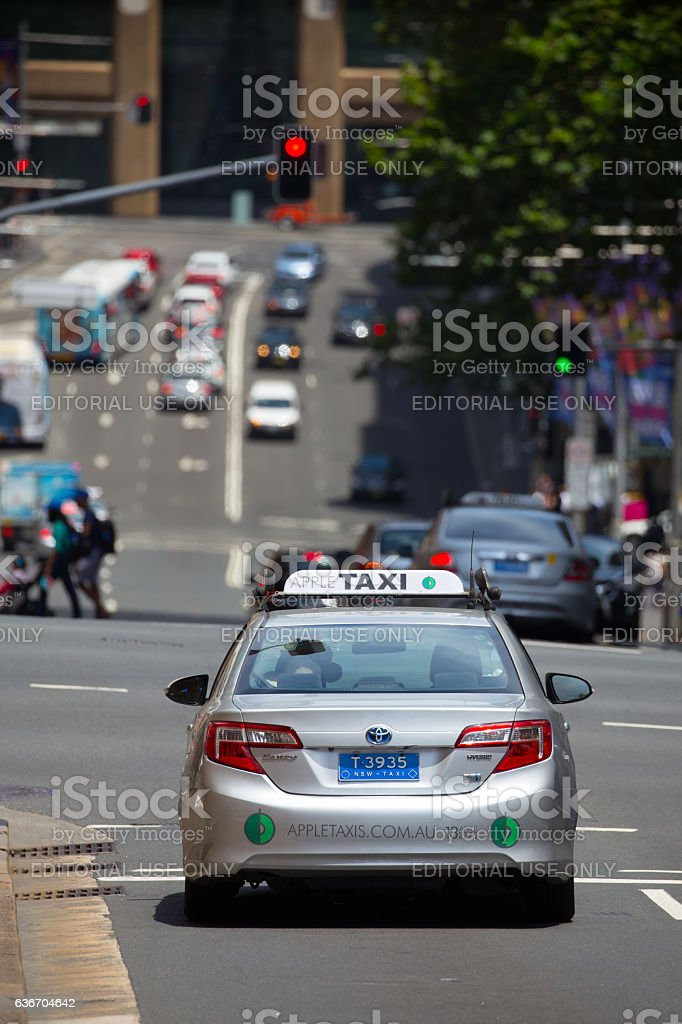 Sydney taxi waiting at a red light stock photo