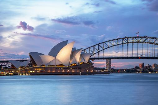 Sydney, NSW, Australia - November 2, 2015: Sydney Opera House and Sydney Harbour Bridge illuminated at dusk