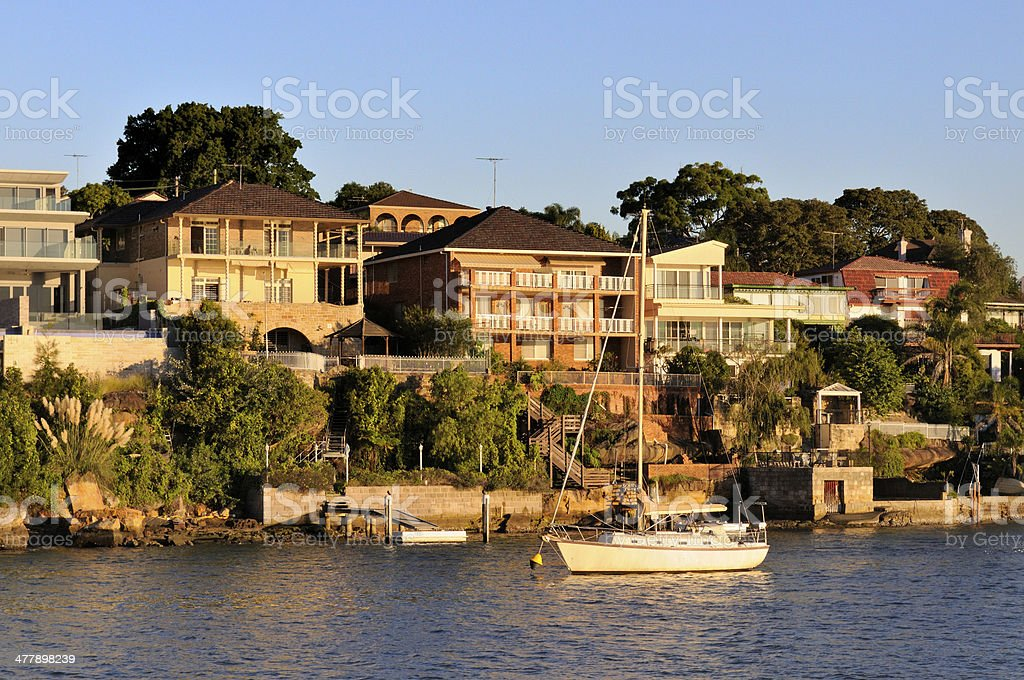 Sydney Waterfront Houses royalty-free stock photo