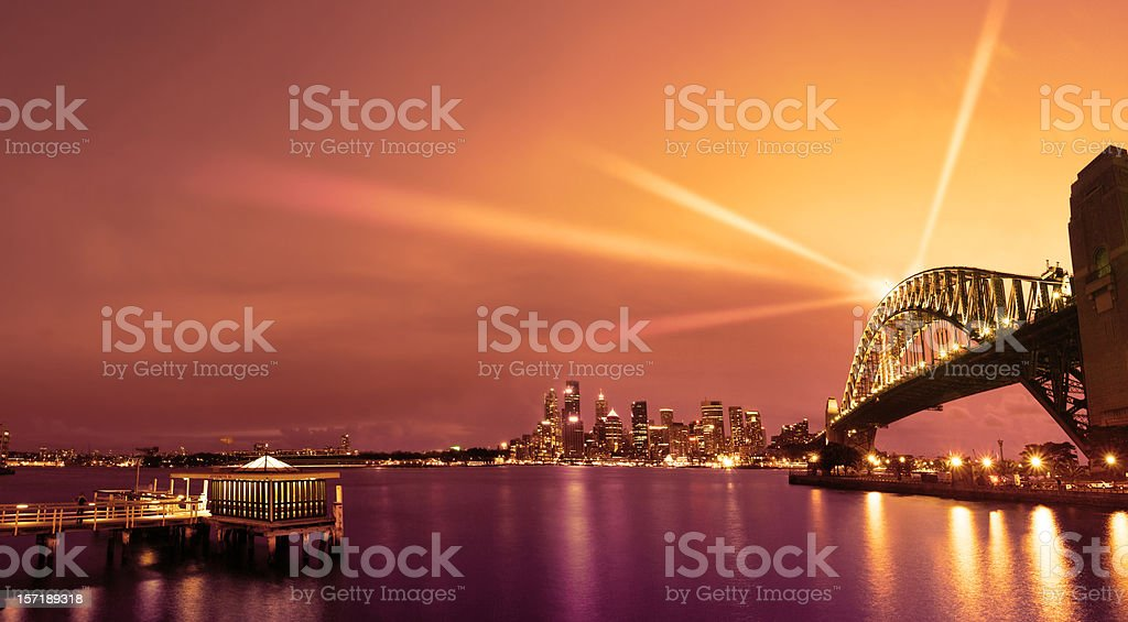 sydney with cool dusk lighting stock photo