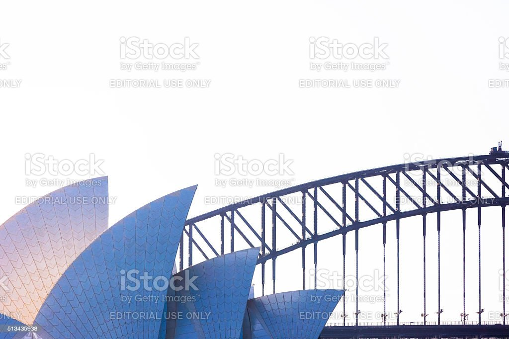 Sydney's Opera House against Harbour Bridge, copy space stock photo