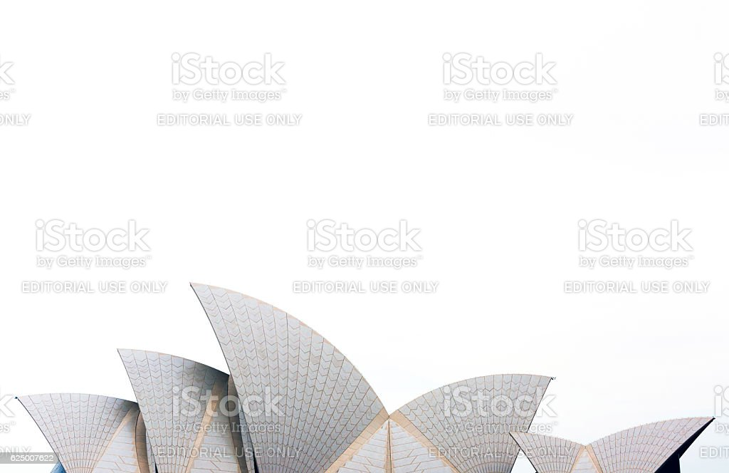 Sydney's Opera House roofline against sky, background with copy space stock photo
