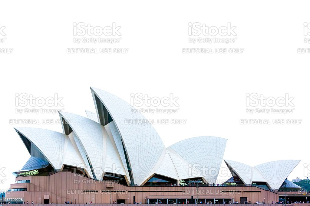 Sydney's Opera House roofline against white background with copy space stock photo