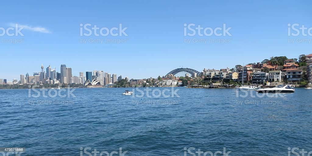 Sydney's skyline from a far on a sunny summers day stock photo
